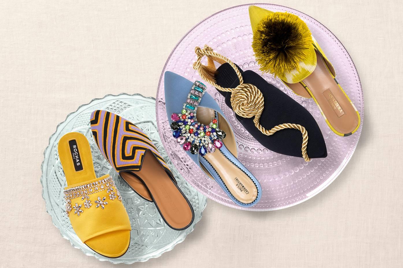 From left: Rochas crystal-embellished satin sandals, £540. Le Monde Beryl x Mola Sasa cotton mules, £305. Paula Cademartori crystal-embellished satin mules, £580. Sanayi 313 faille and metallic cord Tramontana slippers, £695. Aquazzura ikat-fabric Powder Puff flats, £440