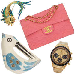 From top: Chanel quilted denim jumbo flap bag, £4,999, gold and enamel vintage Cartier fish brooch, £2,995, Picasso bird-shaped jug, £19,500