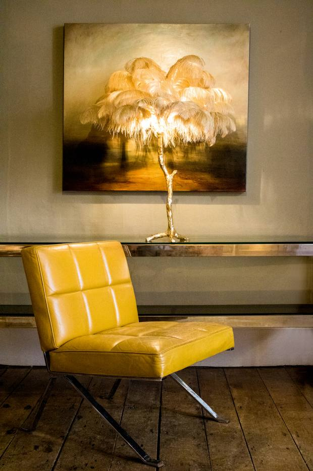 A Modern Grand Tour gold-resin Mini Ostrich Feather lamp, £1,900