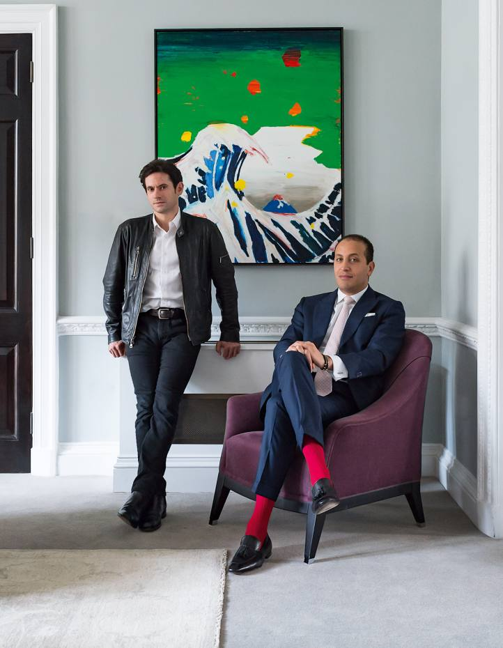 Nick Hackworth (far left) and Hussam Otaibi, with an untitled artwork, 2016, by Harold Ancart