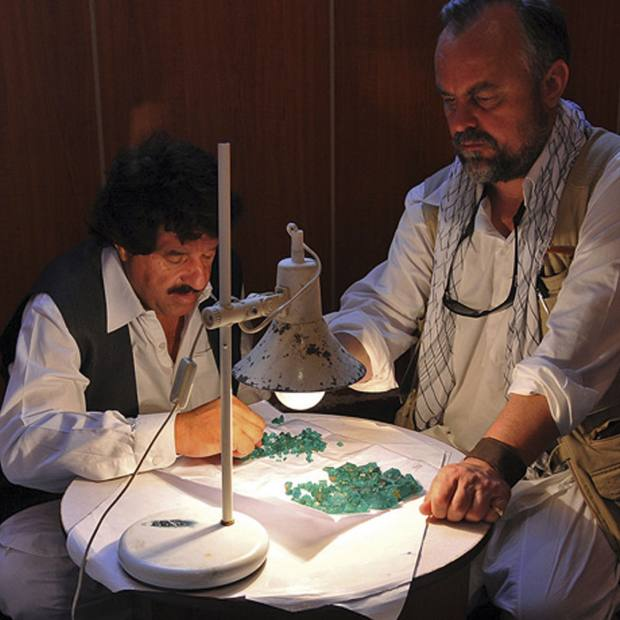 Gem hunter Guy Clutterbuck buying emeralds from the Panjshir Valley, Afghanistan
