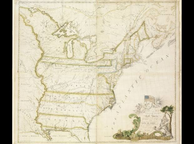 A New and Correct Map of the United States of North America (1784) by Abel Buell sold for £1,345,192 at Sotheby's.