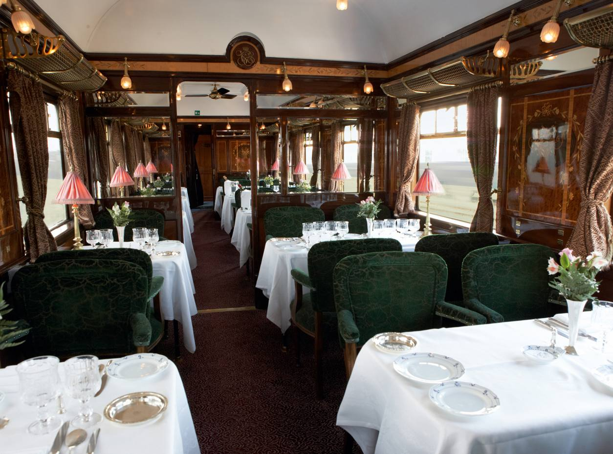The dining carriage on the Venice Simplon-Orient-Express