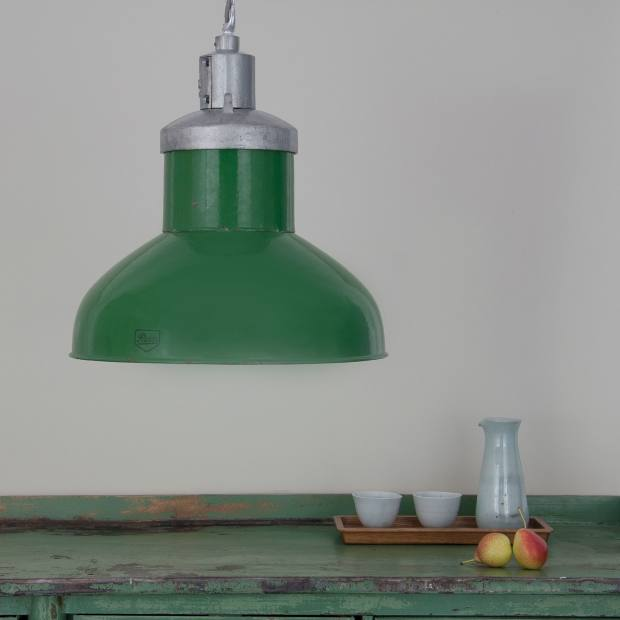 An enamel reflector shade salvaged from a chemical factory warehouse, £552