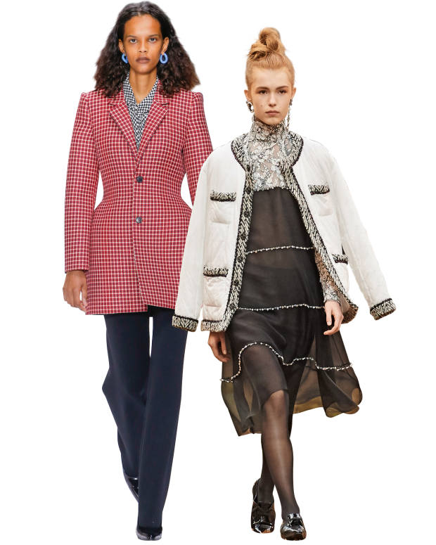From left: Balenciaga wool blazer, €3,900. Chanel polyamide toile jacket, £4,250