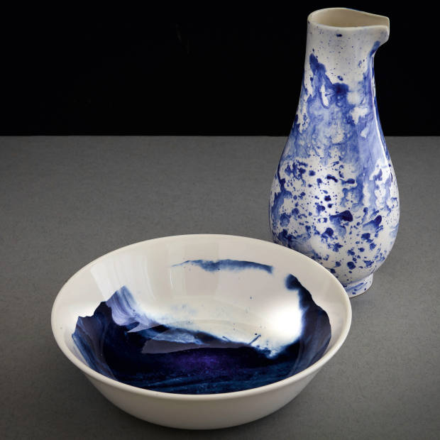1882 Lts earthenware Indigo Storm jug, £30, and bowl, £16, by Faye Toogood