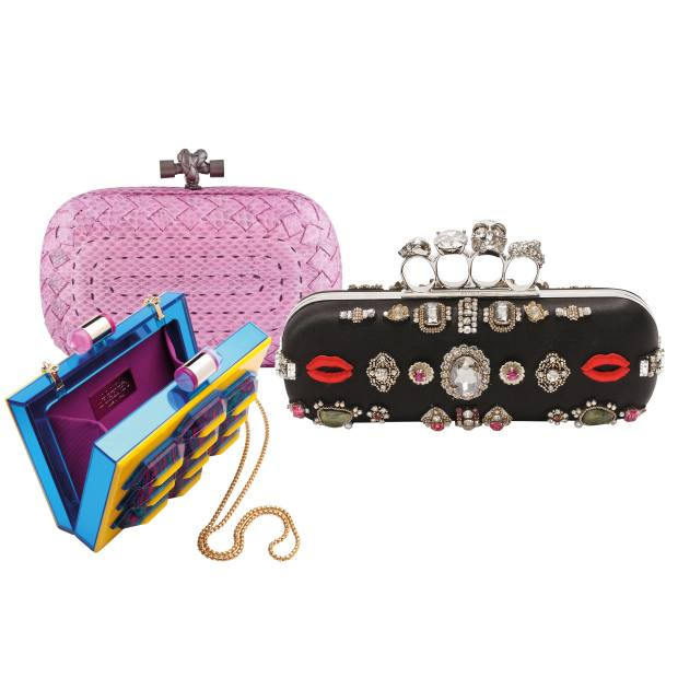 Clockwise from top left: Bottega Veneta snakeskin Knot Boutis Snake clutch, £1,405. Alexander McQueen embellished satin and metal Knuckle Duster clutch, £1,995. Lolita Lorenzo Plexiglas, gold-plated brass and batik Palmares minaudière, €1,578