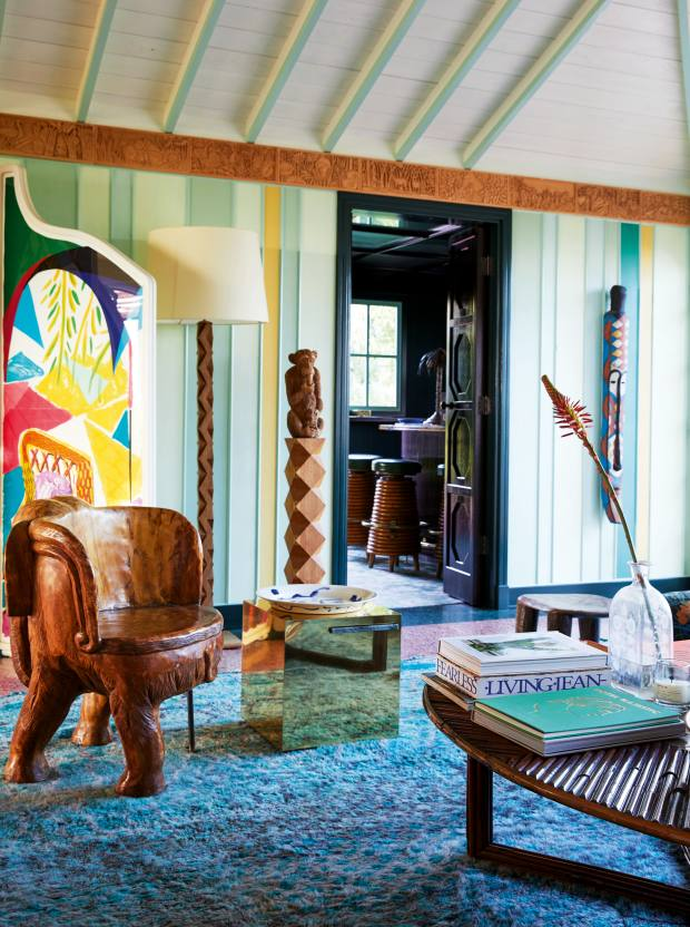 The sitting room, with David Hockney screen and Gabriella Crespi coffee table