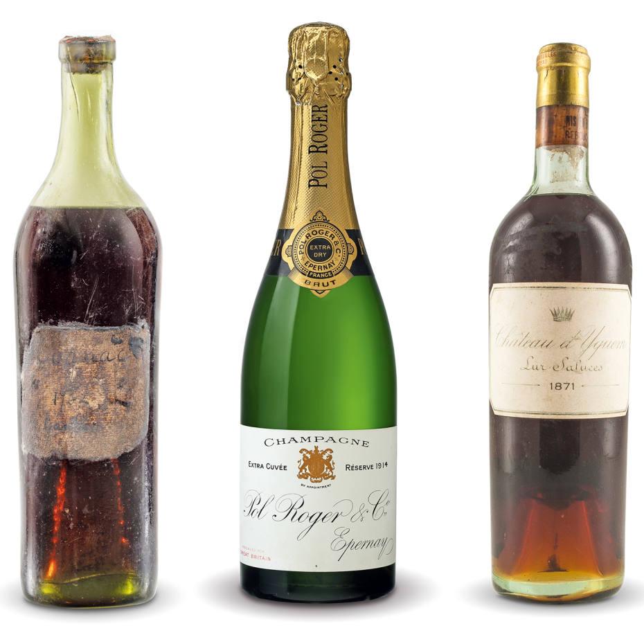 From left: 1762 Gautier Cognac. 1914 Pol Roger. 1871 Château d'Yquem