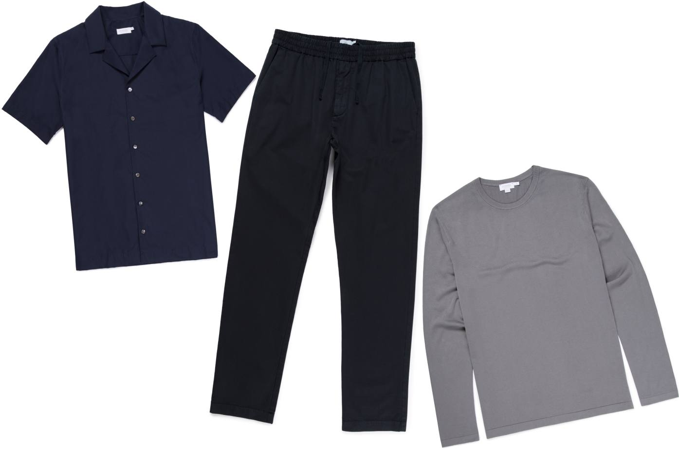 From left: cotton camp-collar shirt, £195. Wool drawstring trousers, £195. Cotton crewneck jumper, £185