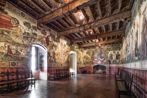 The late-gothic baronial hall at FAI-owned Castello della Manta, an hour from Turin