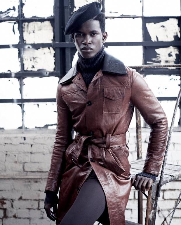 Valentino leather coat,£3,850, and wool trousers,£490. Ermenegildo Zegna Couture cashmere rollneck, £880. JJHat Center wool Basque beret, about£65