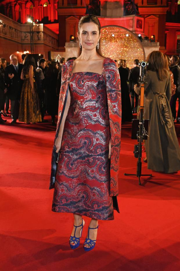 Livia Firth at the 2017 Fashion Awards wearing an Osman marble jacquard viscose/silk-mix dress, price on request
