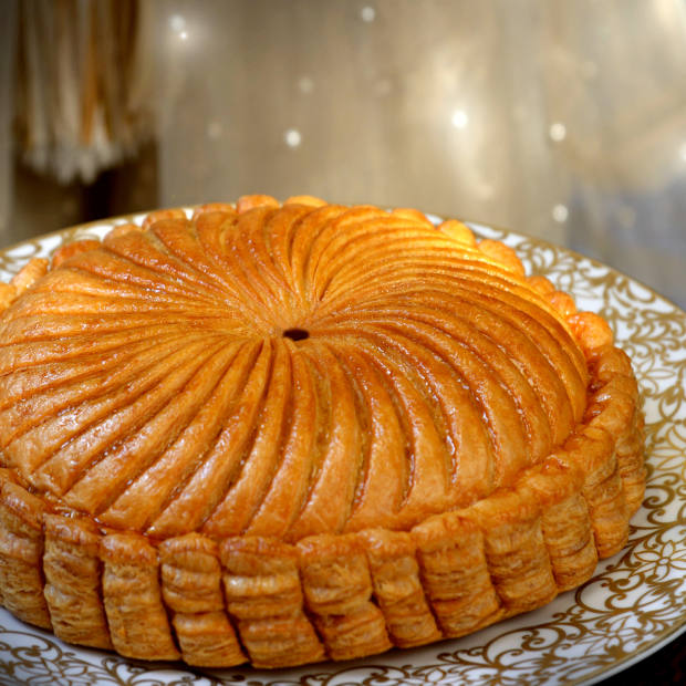The traditionally decorated galette des rois at the Royal Mansour Marrakech