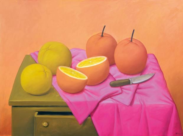Botero's Oranges (2004), oil on canvas