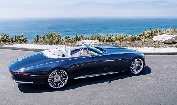 The Mercedes-Maybach Vision 6 concept cabriolet combines Jazz Age style with a pure electric powertrain that provides a top speed of 155mph