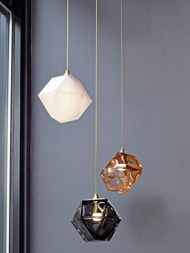 Gabriel Scott metal and glass Welles pendant lights, $1,200 per cube