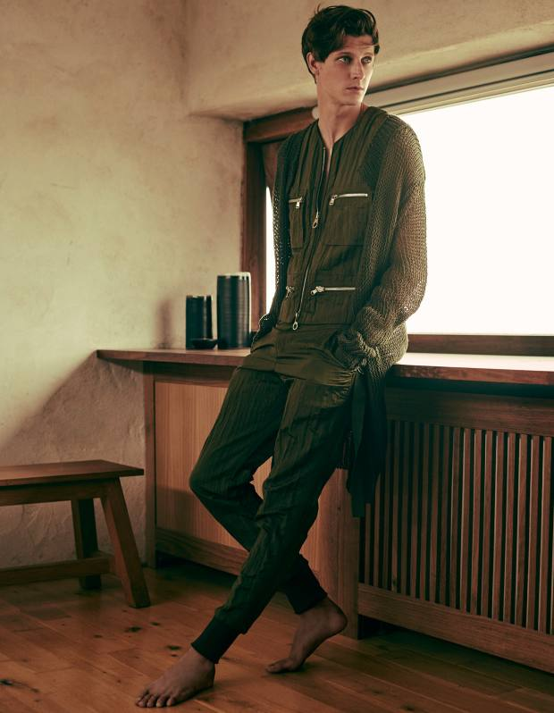 Wooyoungmi cotton/nylon cardigan, £1,135, polyester/nylon gilet, £455, and matching trousers, £405