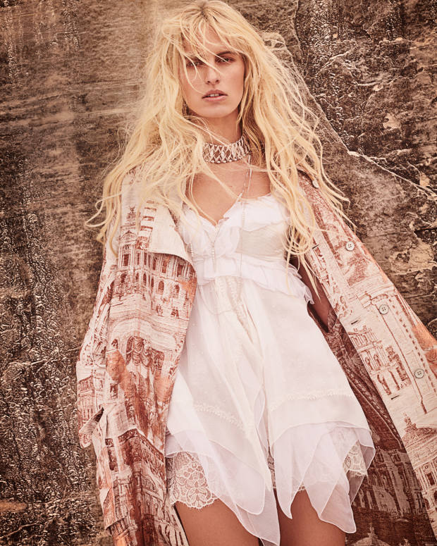 Acne Studios linen and leather coat, £2,000. Ermanno Scervino chiffon and lace dress, £3,670. Boghossian white gold and pink and white diamond choker, price on request, white gold and diamond Merveilles Icicle sautoir, £78,400, and white gold and diamond Merveilles Icicle necklace, £68,000