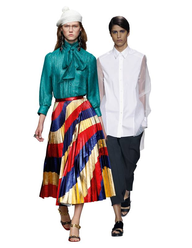 From left: Gucci metallic-leather skirt, £3,780. Hugo Boss cotton-poplin and organza blouse, £325
