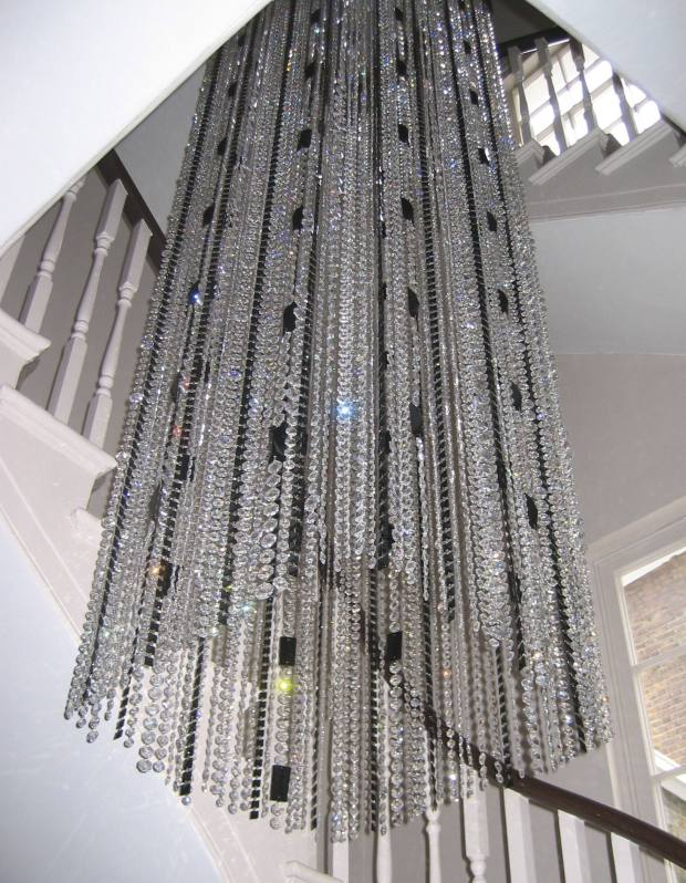 Jet and crystal chandelier, from £24,995, by Spina Design.