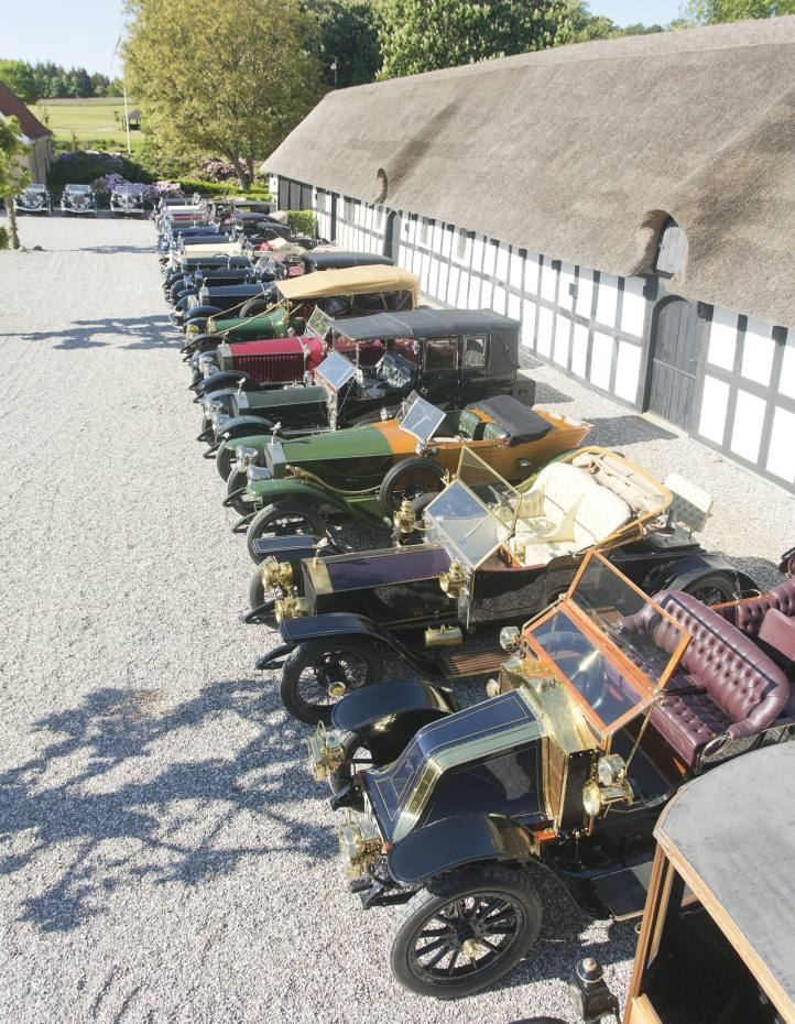 Prewar cars lined up at Lyngsbaekgaard, Henrik Frederiksen's 16th- century manor house