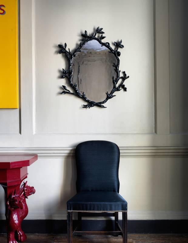 Marianna Kennedy for Galerie Chastel-Maréchal bronze and platinum-glass mirror, price on request