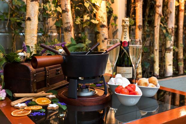 Fondues and champagne will be served at the Moët & Chandon winter terrace at The Hari