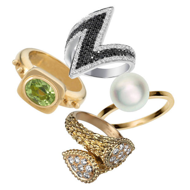 Clockwise from top: AS29 white gold and black and white diamond Arrow ring, £2,343. Sophie Bille Brahe gold and pearl Lisa Petite ring, €490. Boucheron gold and diamond Serpente Bohème Toi et Moi ring, £5,350. Elizabeth Gage gold and tourmaline Valois ring, £2,600