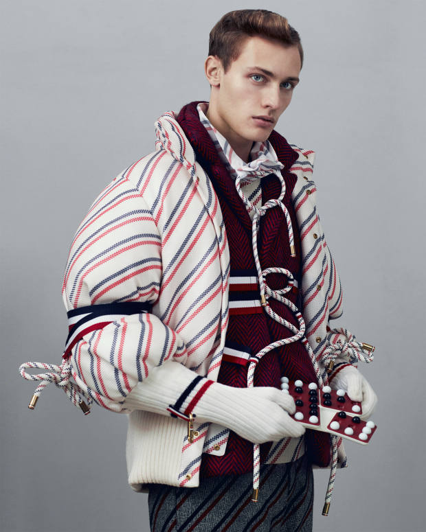 Moncler Gamme Bleu cotton bomber jacket, from £1,560, wool jumper, price on request, cotton shirt, price on request, wool  jacket, from £1,500, and wool shorts, £490. Pentago, £26,from After Noah