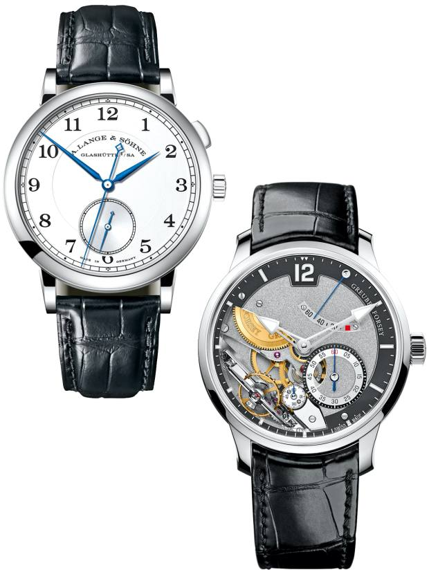 From left: A Lange & Söhne white gold, silver and steel 1815 Homage to Walter Lange on alligator strap, £40,400. Greubel Forsey white-gold Différentiel d'Egalité on alligator strap, about £205,000