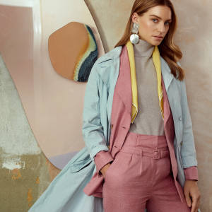 Poiret cotton trench coat, £1,670. Gabriela Hearst wool/silk/linen Angela blazer, £1,305, and matching Beatrice trousers, £740. William & Son cashmere rollneck, £275. Annie Costello Brown sterling-silver Overt earrings, €320. Turnbull & Asser silk scarf, £65
