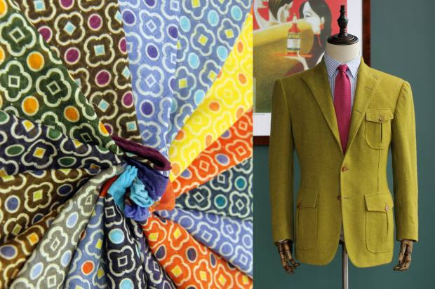 Anderson & Sheppard cotton pocket squares, from HK$450 (about £45), and Cifonelli yak-wool jacket, from about £3,420, both stocked at Attire House