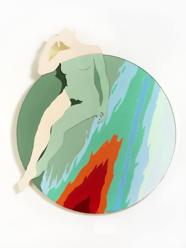 The artist used enamel on wood and Clartex on La Fille de Feu (1967-68)