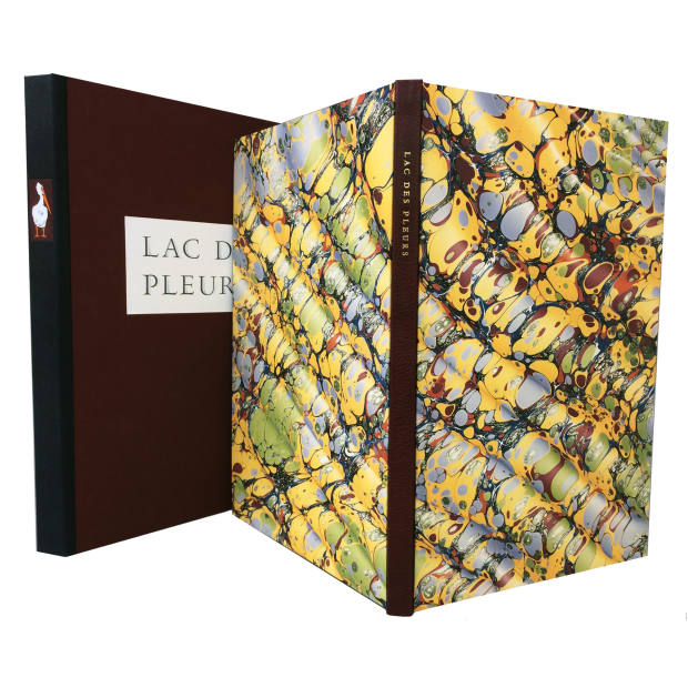 Lac Des Pleurs by Gaylord Schanilec, custom-made box and bespoke marbled paper cover