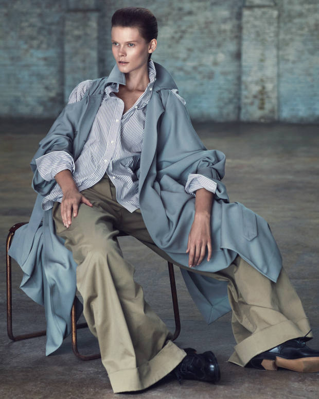 Nina Ricci wool gabardine coat, about £1,610, and cotton trousers, about £620. MaxMara cotton/silk shirt, £315. Tricker's calfskin Anne brogues, £375