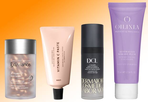 From left: Exuviance AF Vitamin C20 Serum Capsules, £59. Lixirskin Vitamin C Paste, £32. Dermatologic Cosmetic Laboratories (DCL)C Scape High Potency Night Booster 30, £108. Oilixia Australian Kakadu Plum Gummy Facial Cleanser, £24