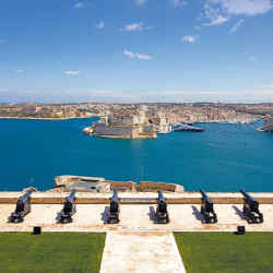 The Saluting Battery on Valletta's fortified walls, overlooking the Grand Harbour and Three Citiesbeyond