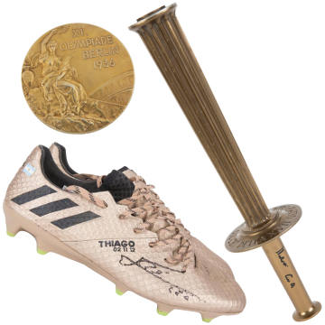 Clockwise from top left: a 1936 Berlin Olympic Games gold medal, estimated at $10,000-$20,000. Muhammad Ali's 1960 Olympic Games relay torch, estimated at $4,000-$6,000. Lionel Messi's Adidas boots, estimated at $6,000-$10,000, from his 500th goal match in 2017