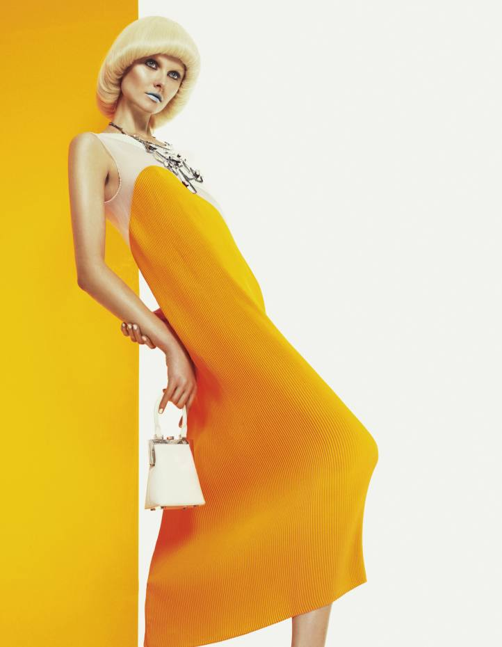 Silk organza dress, £1,425, by Stella McCartney. Leather bag with rhodium frame, €600, by Perrin Paris 1893. Metal and mirror necklace, £710, by Erickson Beamon