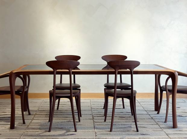 Ceccotti dining table, £7,198, and Ma Belle alta chairs, from £1,768 each, from Mayfair Design Studio