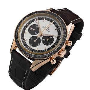 Omega Speedmaster First Omega in Space numbered-edition watch in Sedna gold on leather strap, £11,395