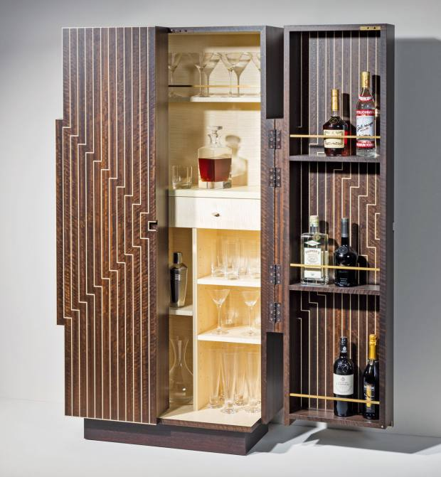 Zelouf+Bell eucalyptus, sycamore, wenge, shagreen and brass Stella'd cocktail cabinet, €28,375.