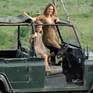 Conservationist Saba Douglas-Hamilton watching elephants in Samburu National Reserve with her daughter