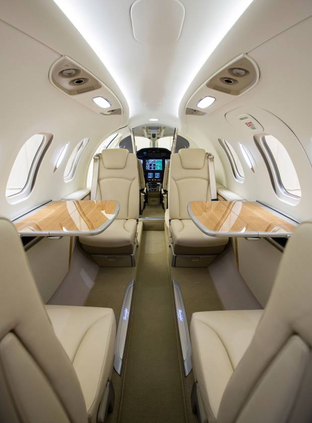 The cabin has larger windows than most jets of a similar size