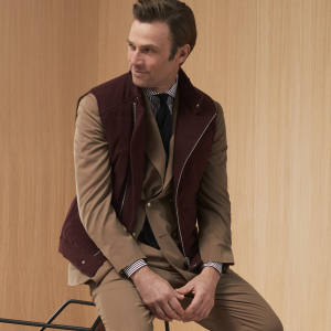 Cotton/cashmere moleskin one-and-a-half-breasted suit, £3,100