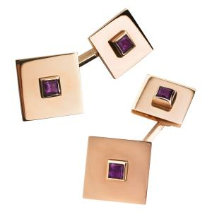 Kiki McDonough cufflinks in yellow gold with amethysts, £1,500