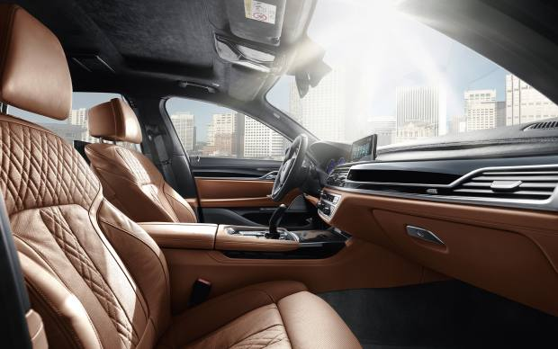 The leather-upholstered interior of the Alpina B7 Bi-Turbo