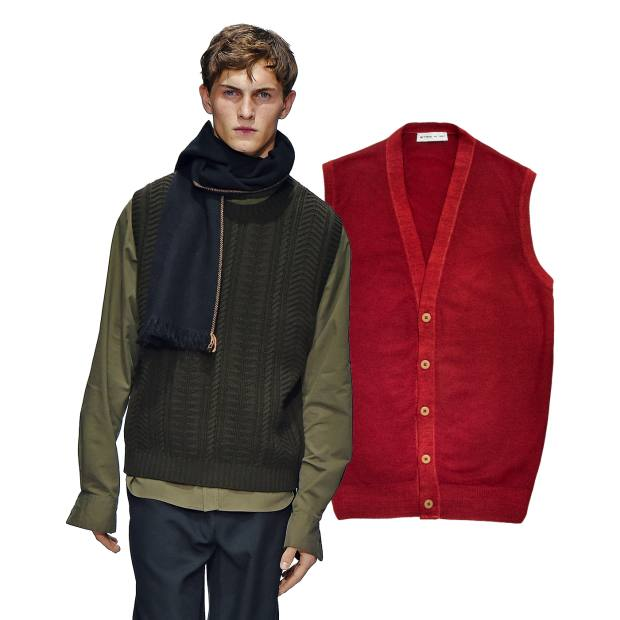 From left: Margaret Howell merino-cashmere Guernsey slipover, £325. Etro wool sweater vest, £305