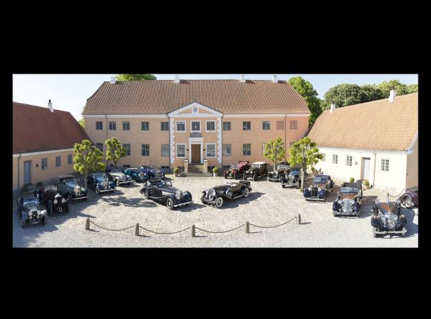 A selection of Frederiksen's cars on display at his home in Denmark